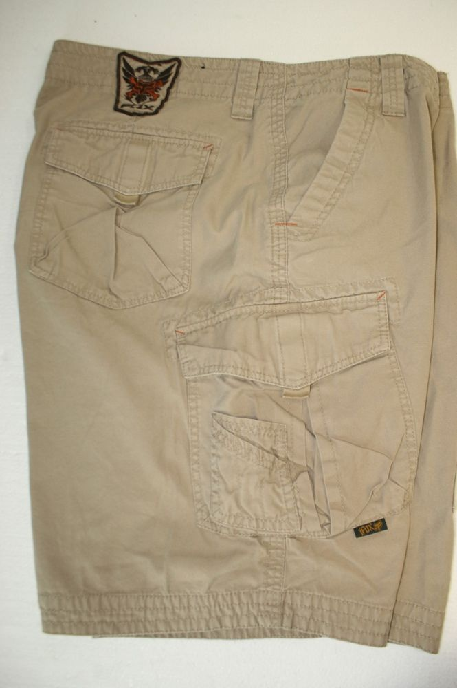 For Sale Fox Embroidered WarLord Crest Shield Wings Tan Cargo Shorts Mens 44 Zipper 2931 #Fox #CargoShorts #FoxRacing