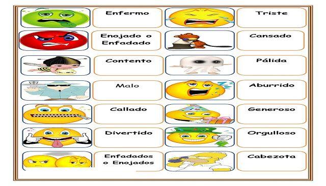 Fichas de Cualidades y Emociones para Imprimir | AULA VIRTUAL ...