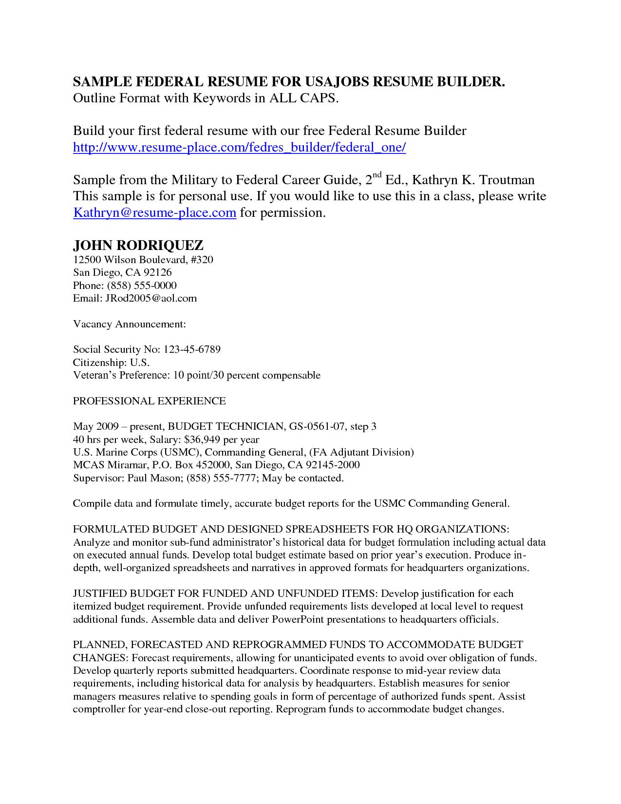 Resume Templates For Usa Jobs