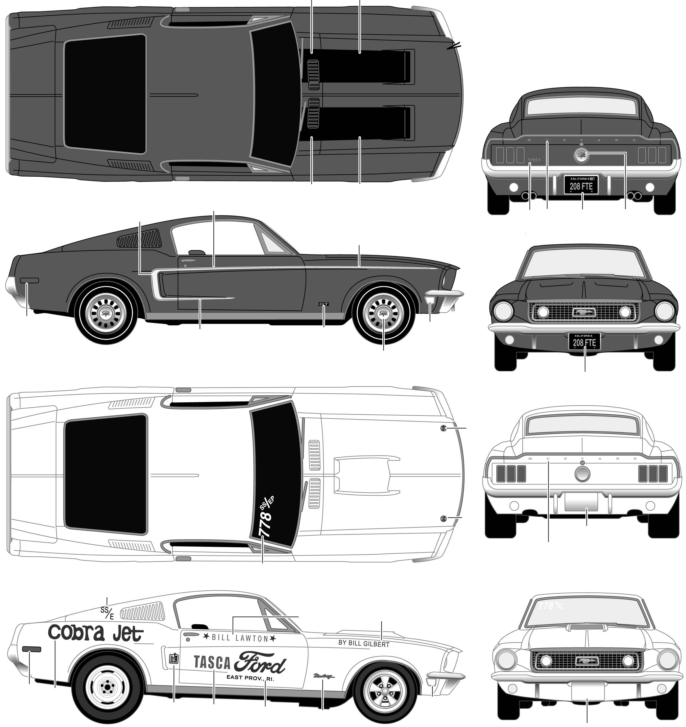 1968 Ford Mustang Gt Coupe Blueprint Dibujos De Coches Autos