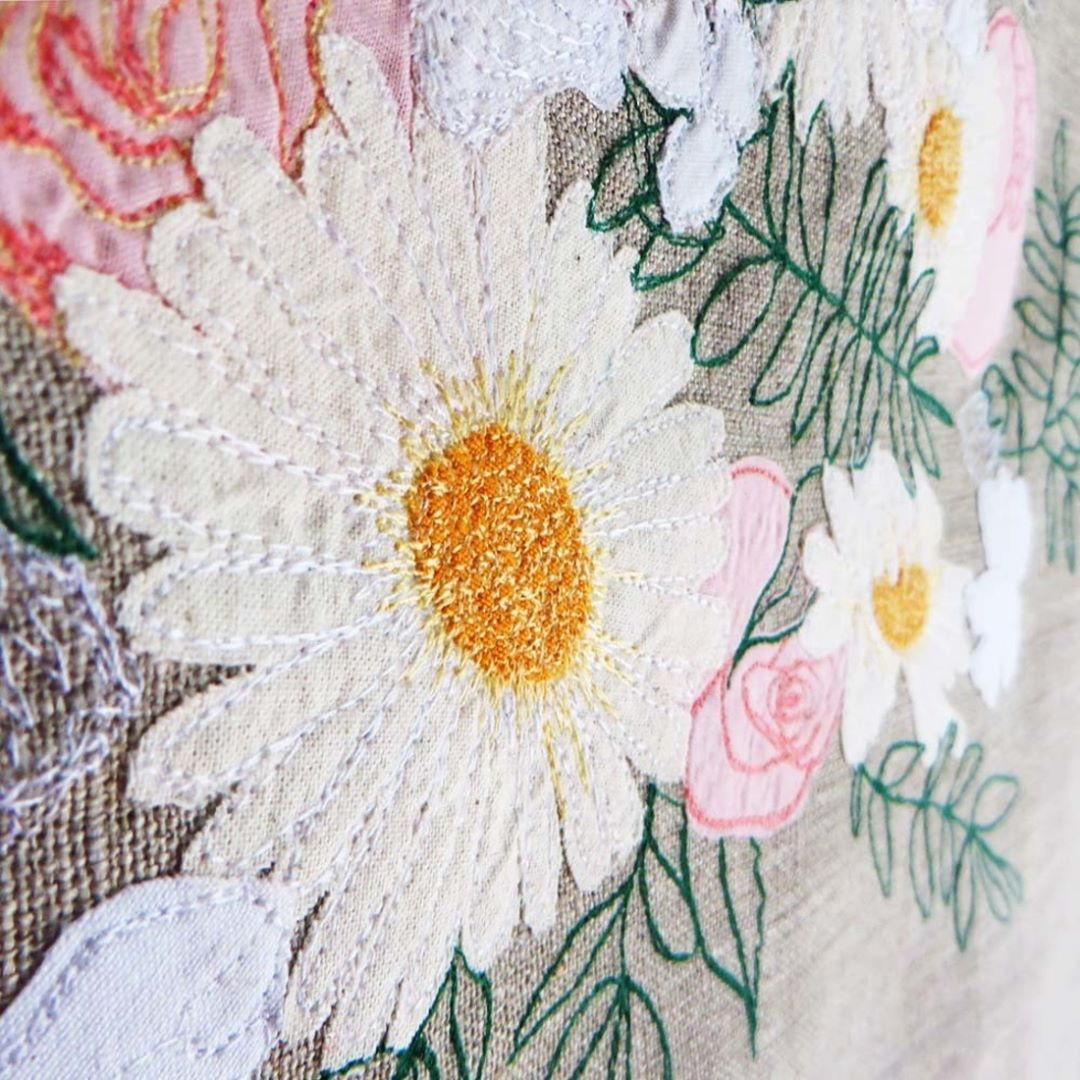 Flower bouquet textile art on portuguese linen by katelijn smissaert
