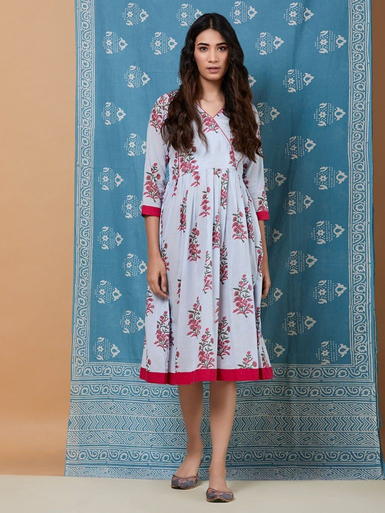 8cb061b50b67 Powder Blue Hand Block Printed Cotton Dress Cotton Dresses Online