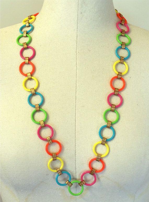 NOS Joseph Magnin Co. 1960s Hot Colors Neon Celluloid Chain &