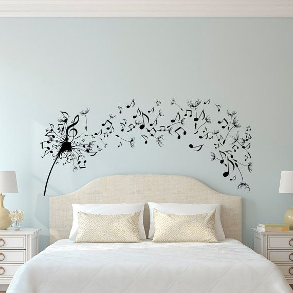 Dandelion Wall Decal Bedroom  Music Note Wall Decal Dandelion Wall Art  Flower Decals Bedroom Living Room ...