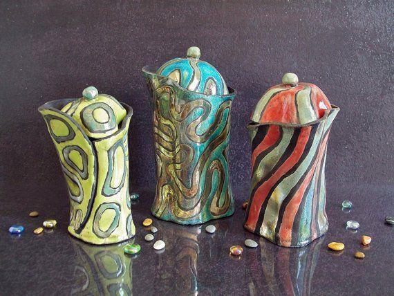 Ceramic set of three jars with lid, coffee tea sugar jars, kitchen ...