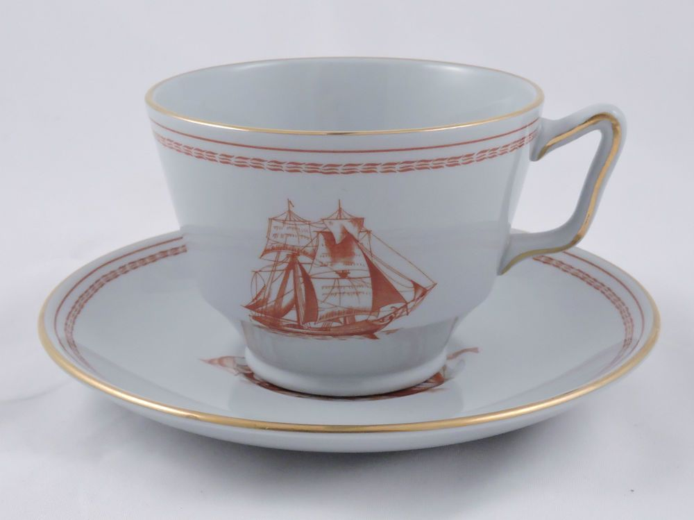 Spode Trade Winds Red London Shaped Footed Cup Saucer Red Scalloped ...