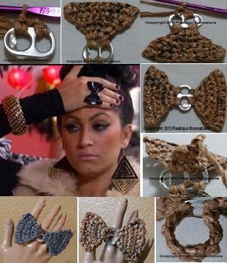 Plastique Recreations: Free Pattern: Crochet Pop Tab Bow Ring