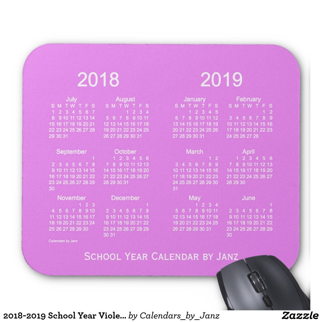 2018-2019 School Year Violet Calendar by Janz Mouse Pad