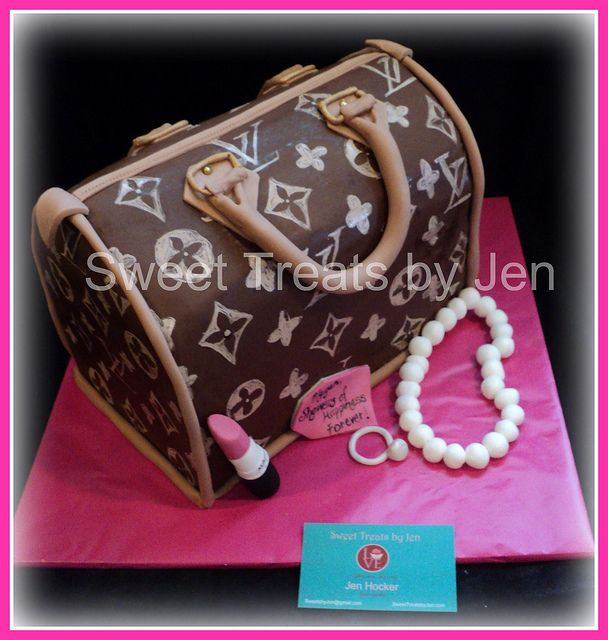 LV Bag Replica Bridal Shower Cake by Sweets by Jen