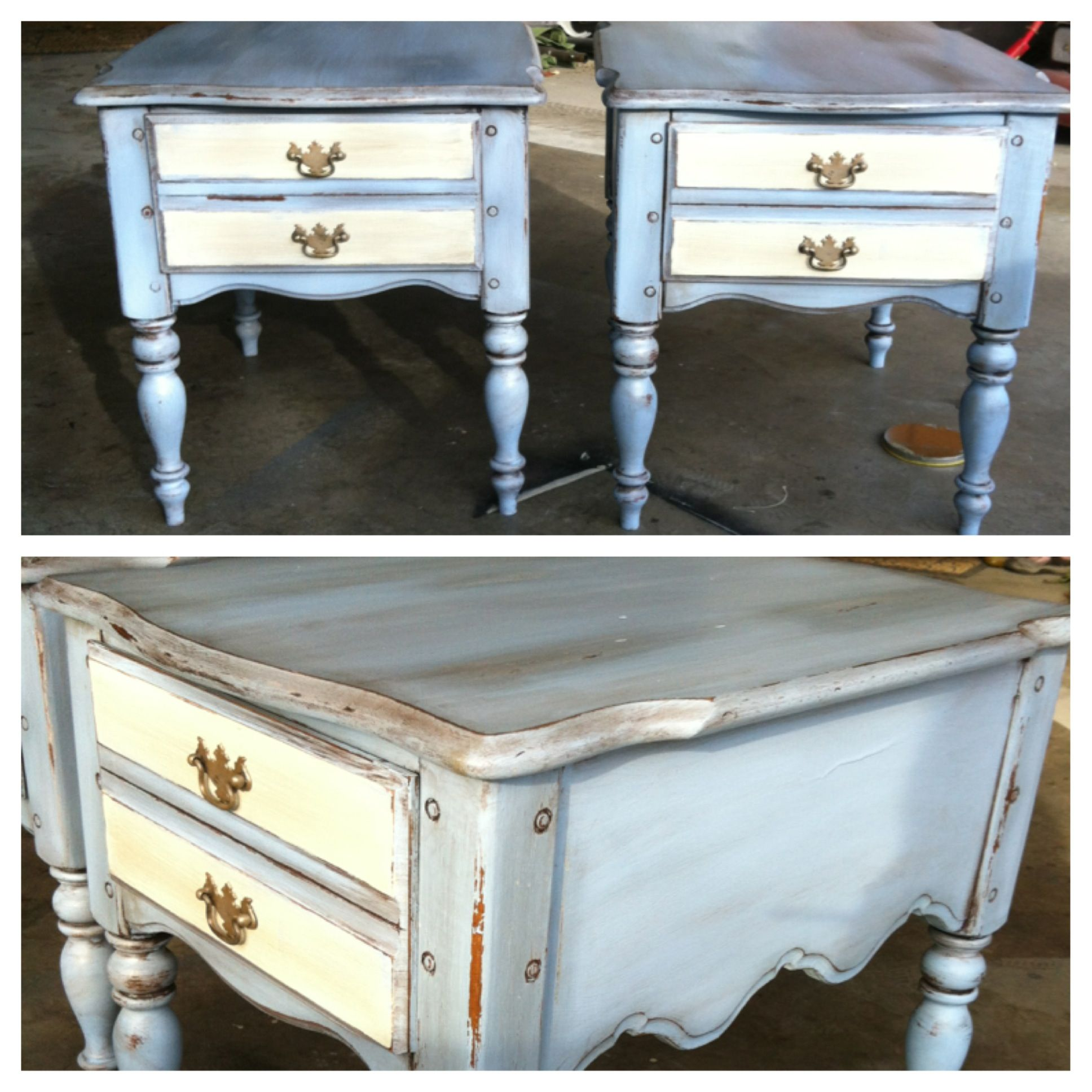 Antiqued Blue And Cream Nightstands By Third Degree Furniture