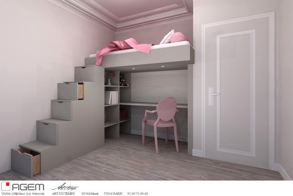 Lit mezzanine sur mesure chambre ado kinderkamer