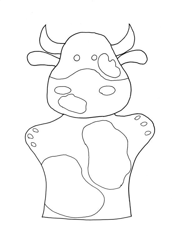 Cow coloring page kids coloring book cow puppet by FeltforAdults ...