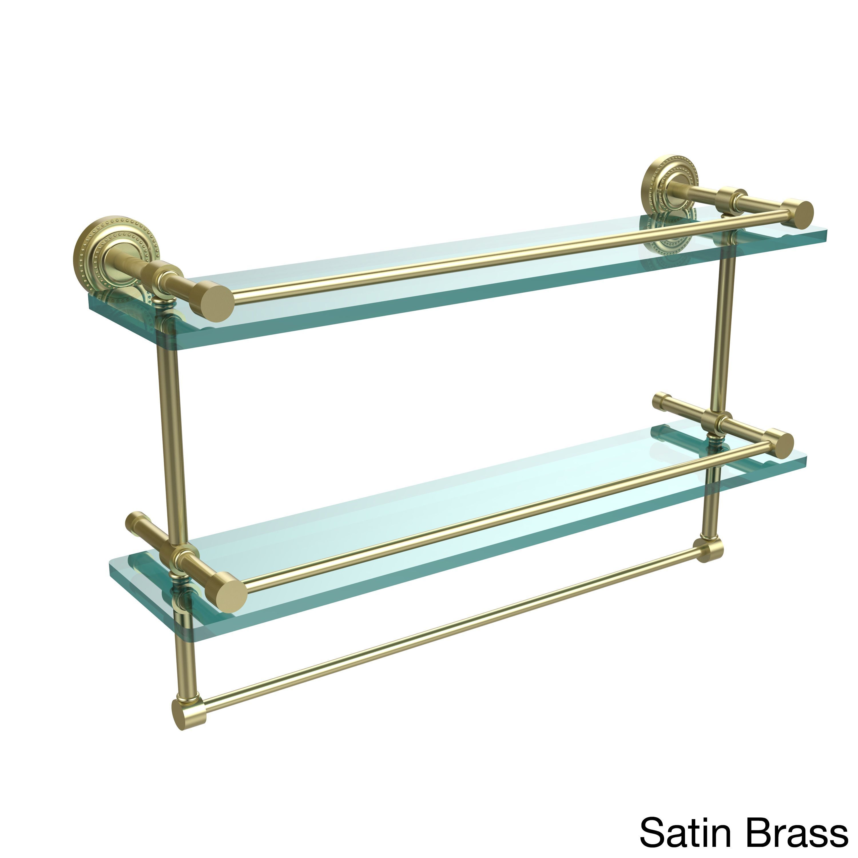 Allied Dottingham 22-inch Gallery Double Glass Shelf with Towel Bar