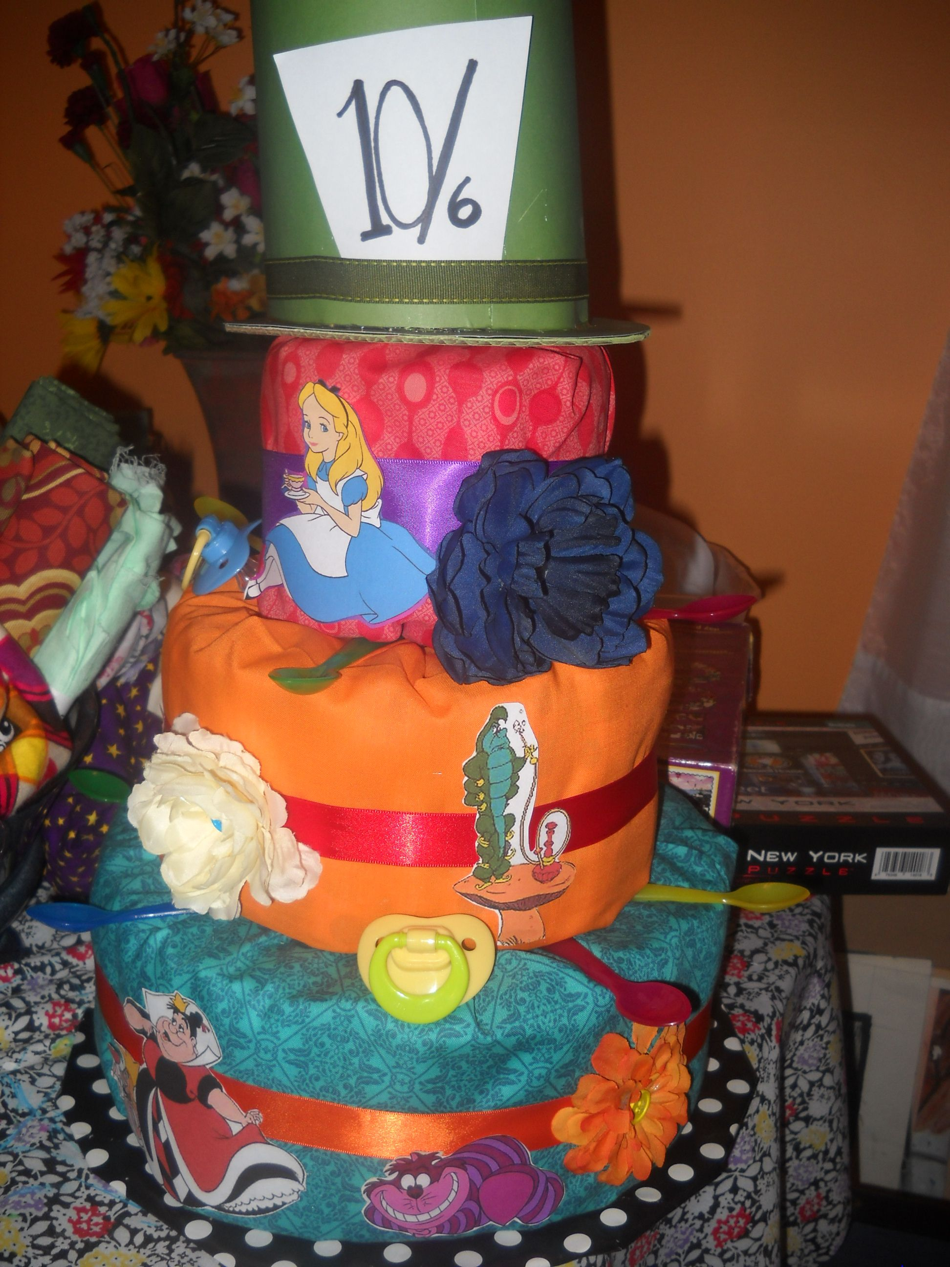 Alice in Wonderland Diaper Cake For my Parties