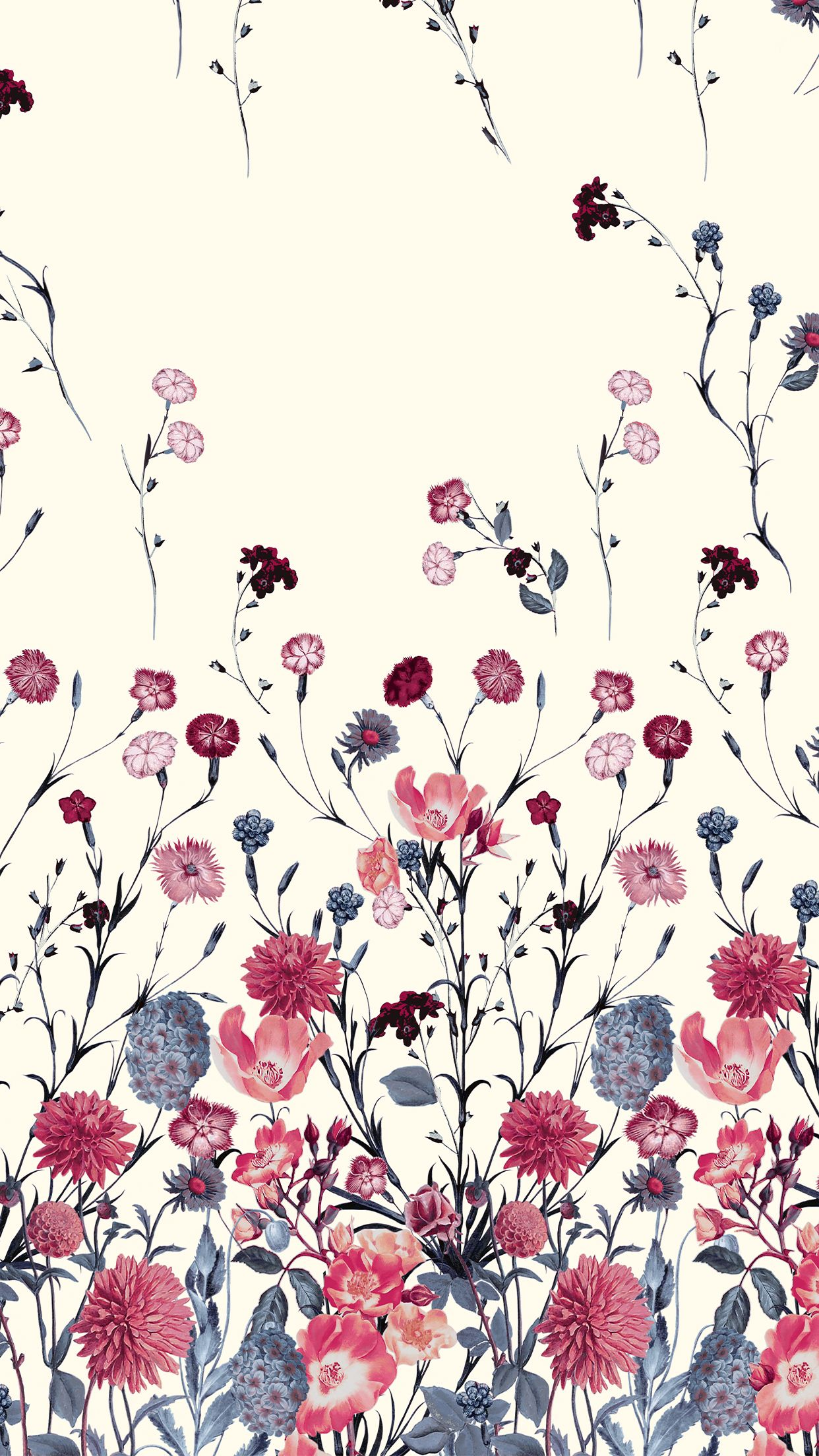 Blue And Red Flower Floral Pattern Floral Background Flower Wallpaper Pattern Wallpaper