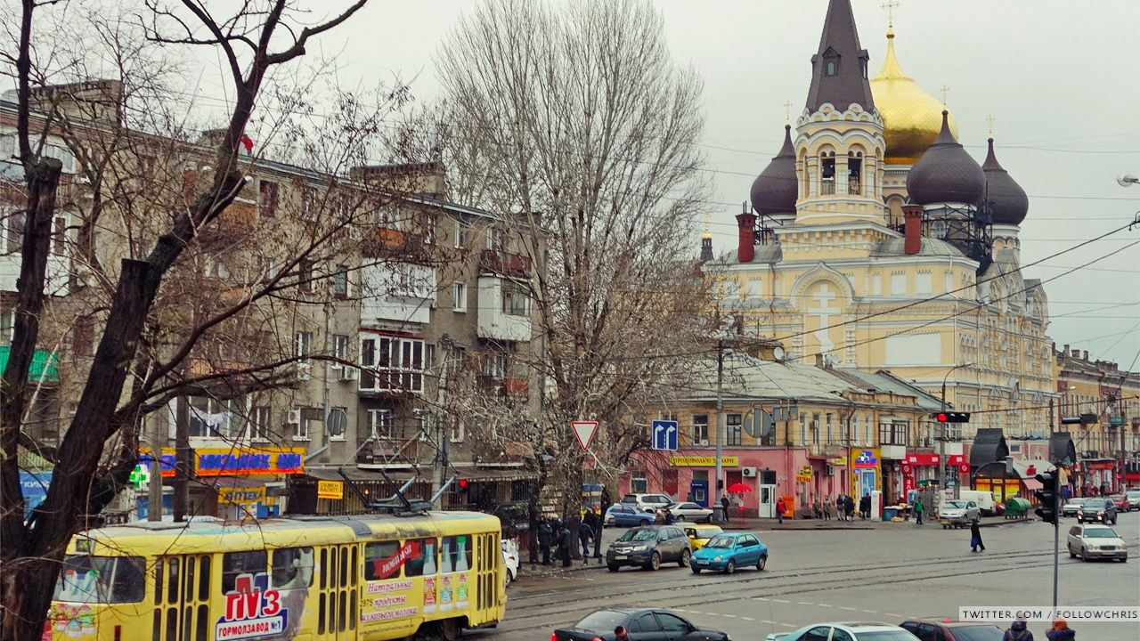 A dull panorama photo for you today: view on Panteleymonovskaya.Gray but fortunately not so cold day.