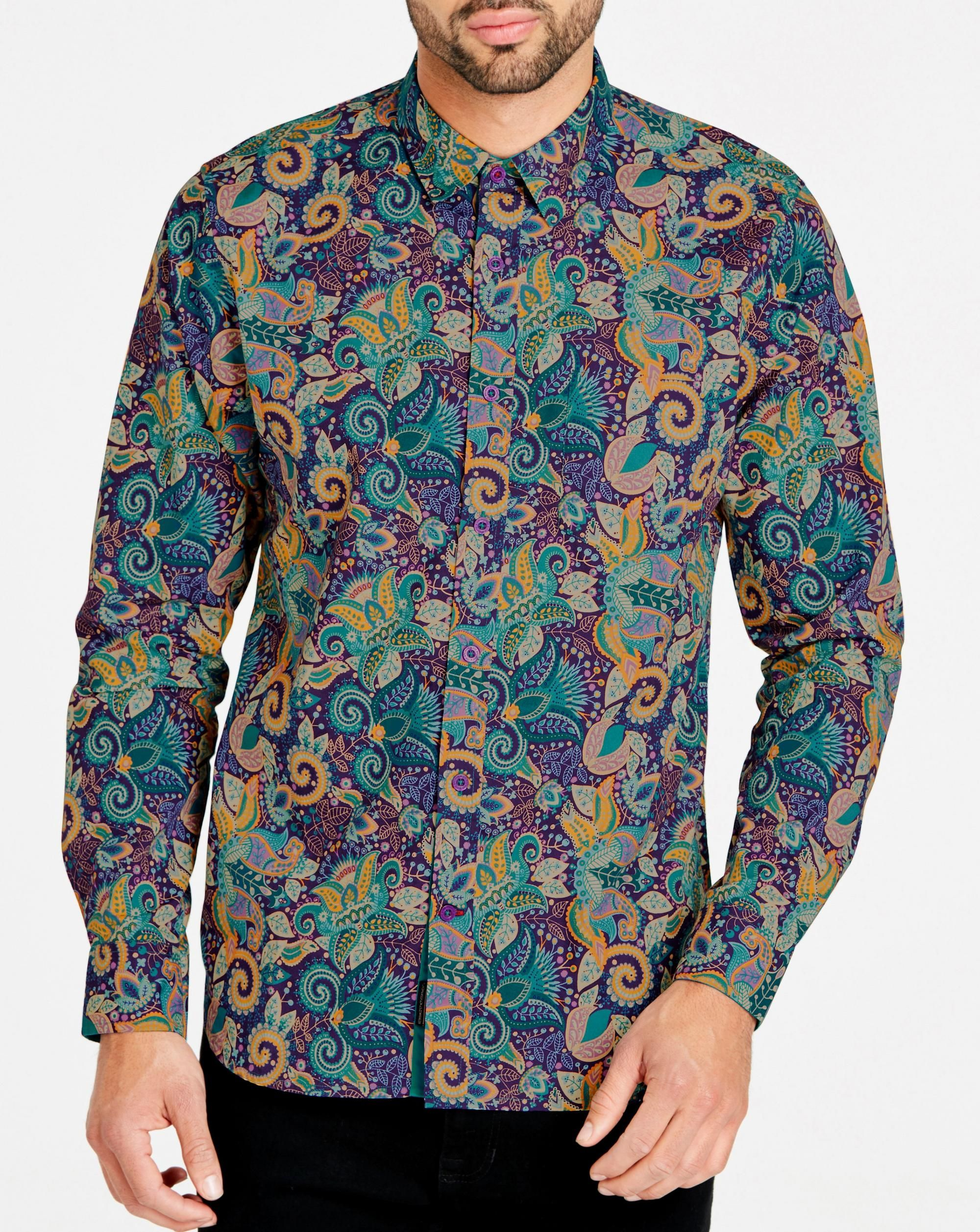 613fb7959f6 1970s Men s Vintage Style Shirts Joe Browns Pop Of Paisley Shirt