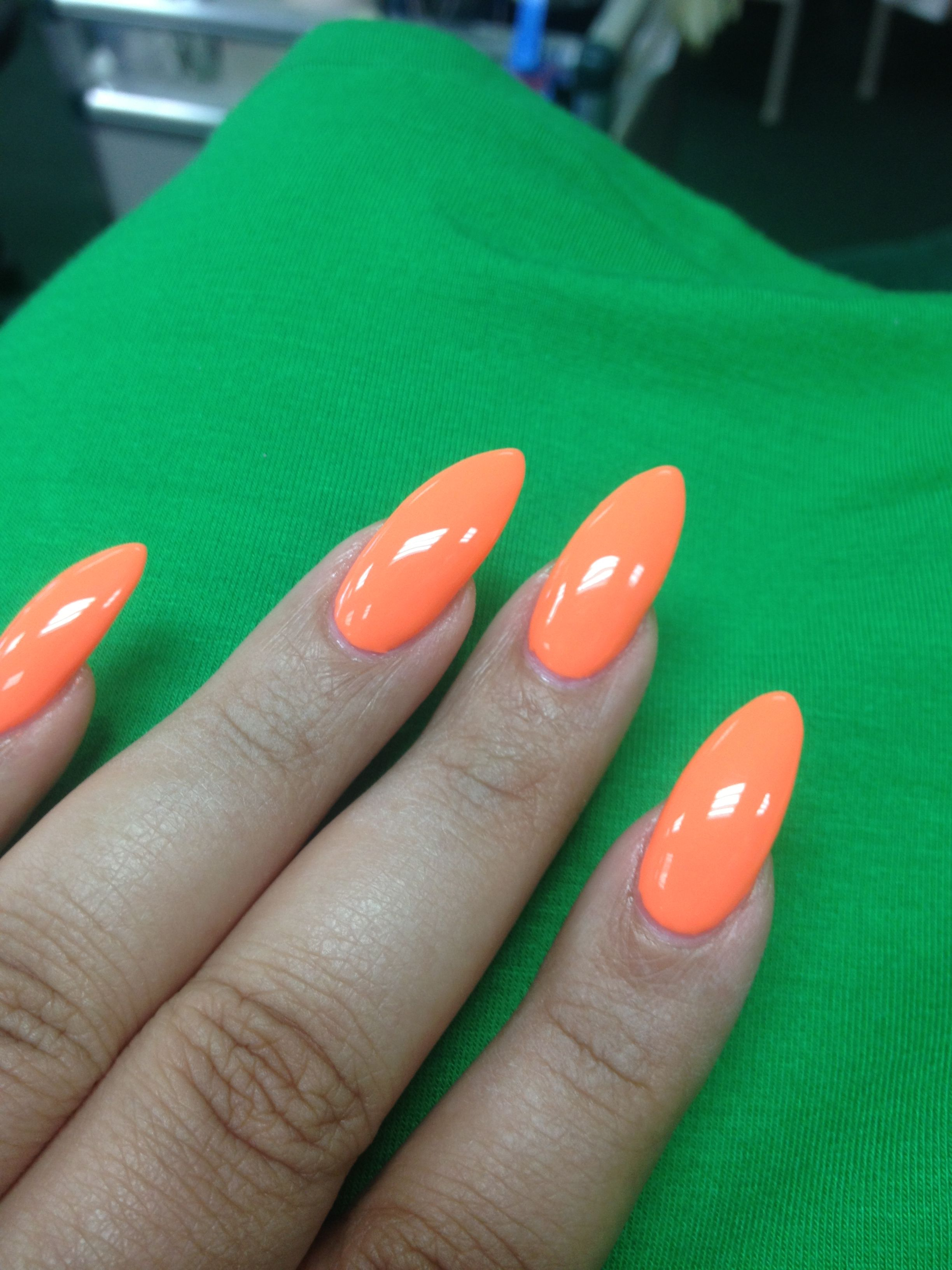 Neon orange stiletto nails | Life | Pinterest