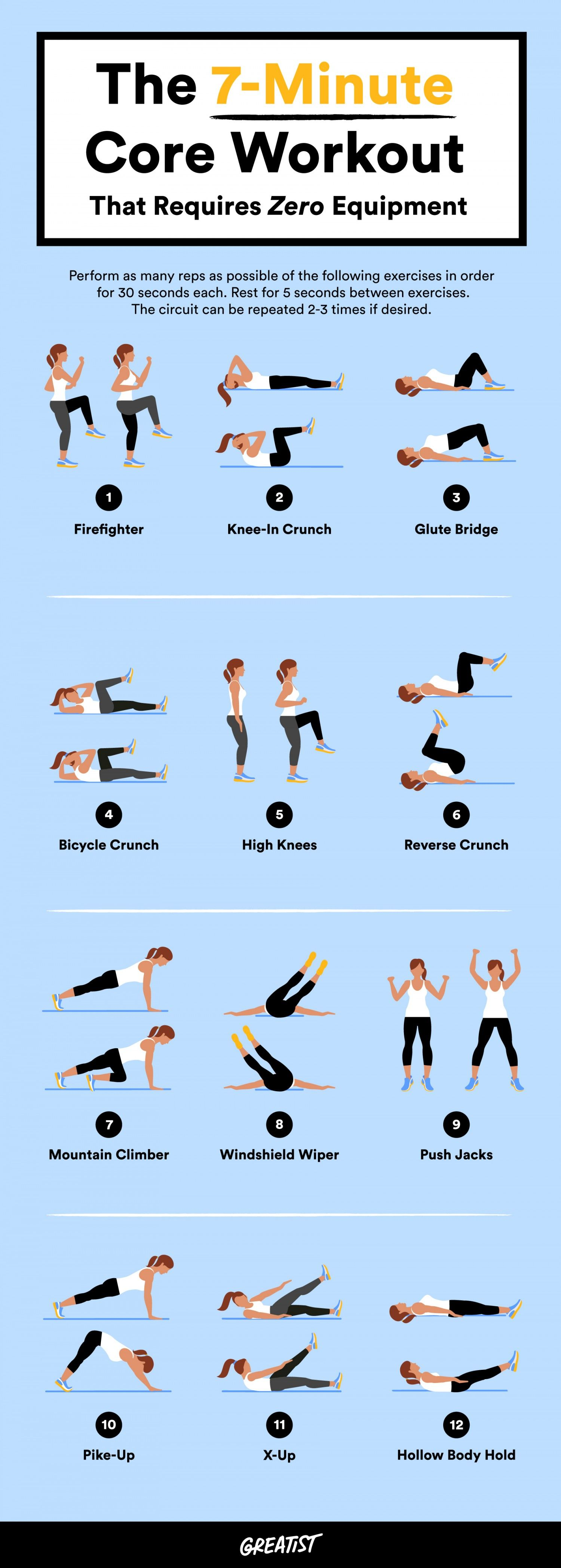 7Minute Abs Without Equipment Workout, Exercise, Health