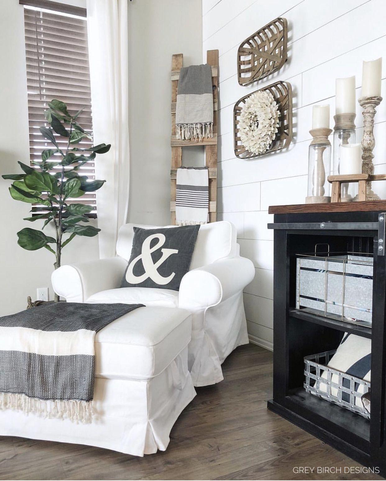 Ladder behind chair | Corner decor, Living room corner ...