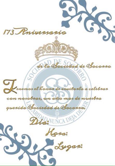Invitacion Aniversario Sociedad De Socorro Sud Sociedad De