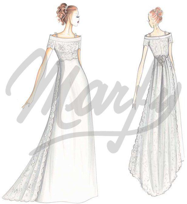 Pin de Rossana Romagnoli en Brides dress sketches | Pinterest
