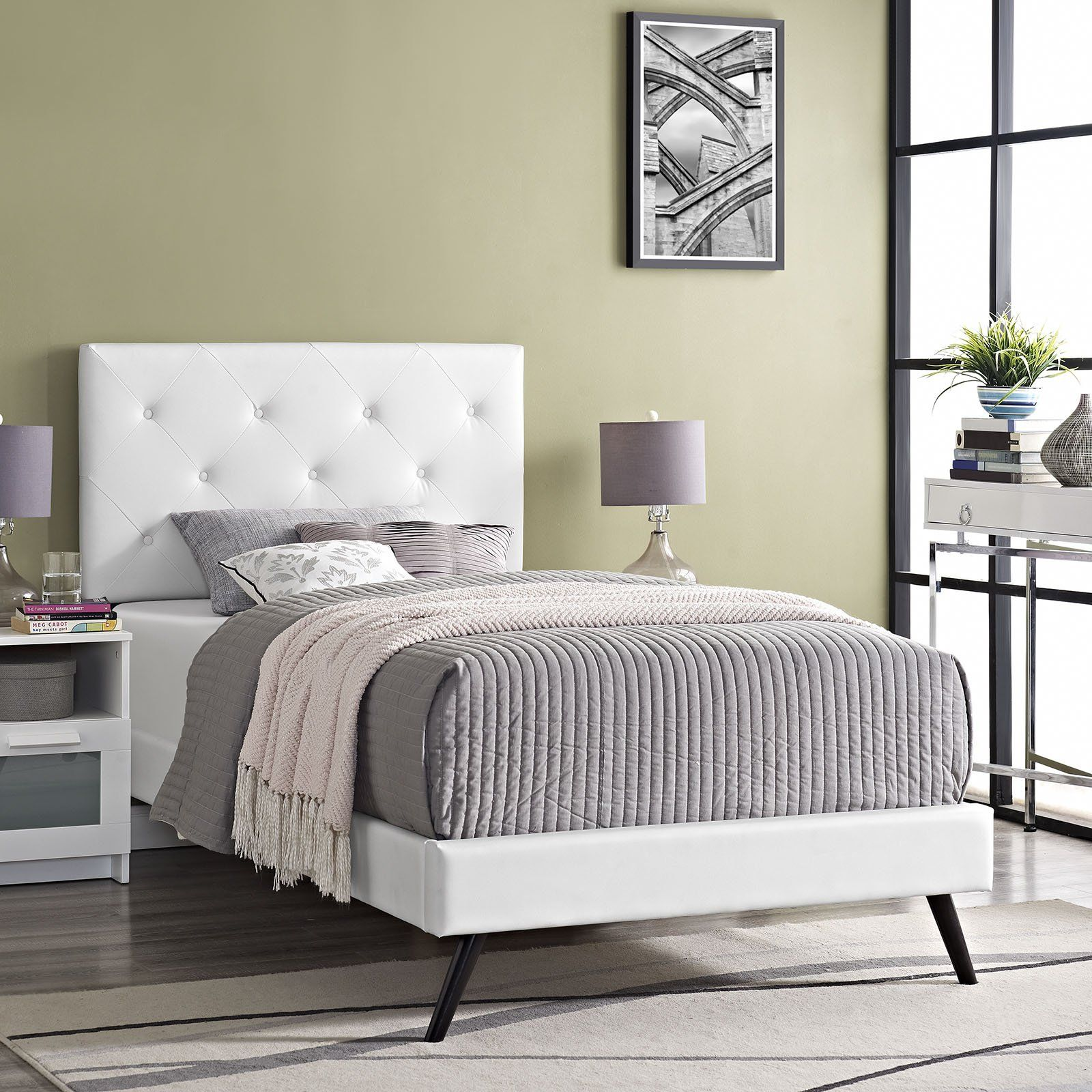 Modway Furniture Modern Terisa Twin Vinyl Platform Bed