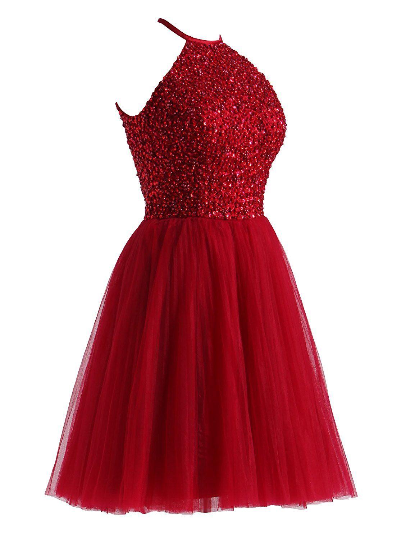27fa822d5c8 LovingDress Short Prom Dresses A Line Halter Tulle Homecoming Dresses at Amazon  Women s Clothing store