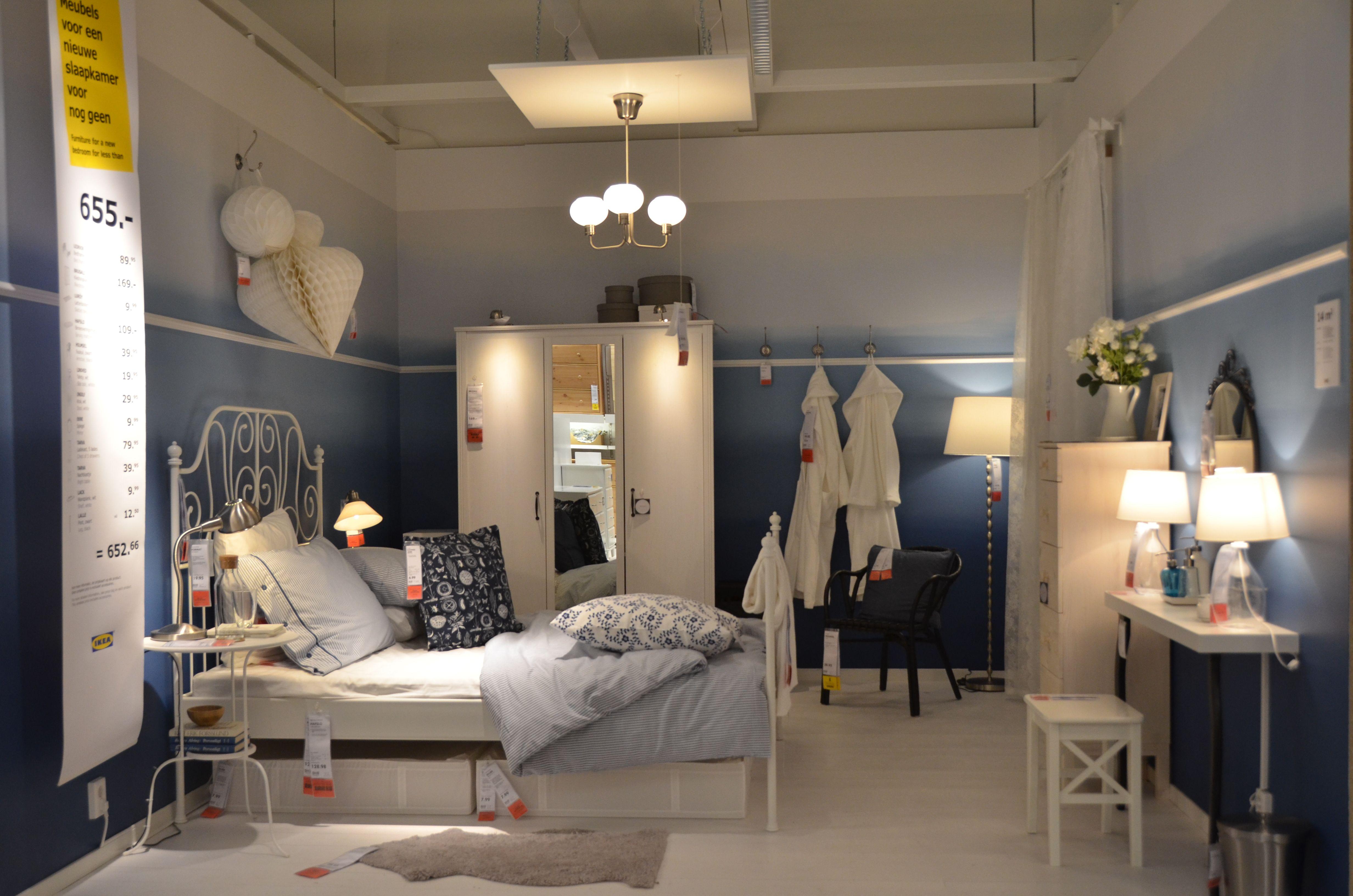 IKEA Delft   LEIRVIK bed frame   BRUSALI wardrobe   blue and white ...