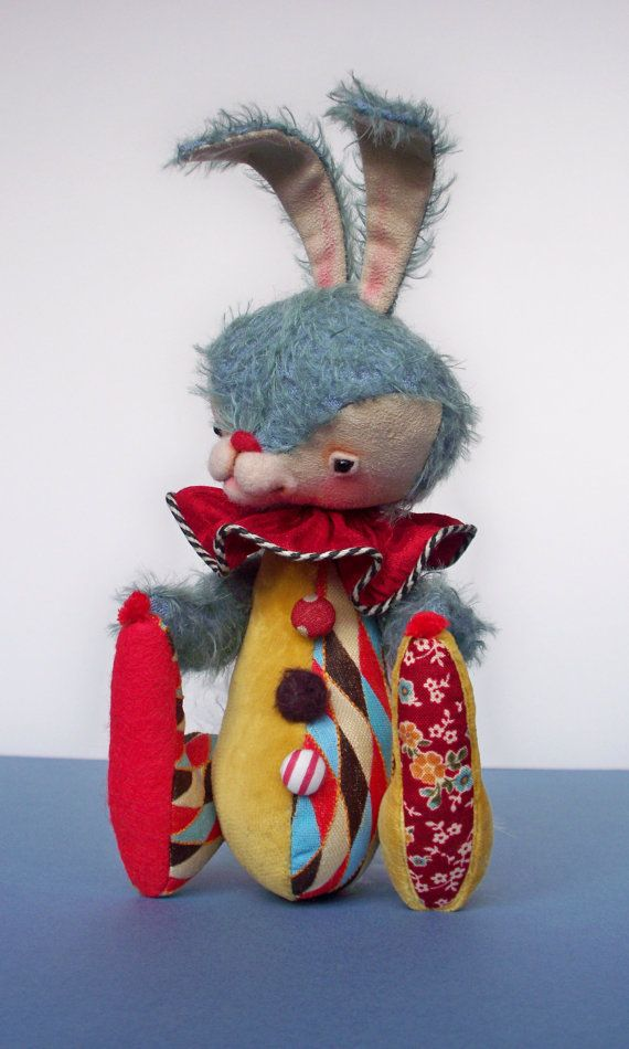 Artist Mohair Rabbit Clown One of a Kind by CopiKhatz on Etsy, $262.00