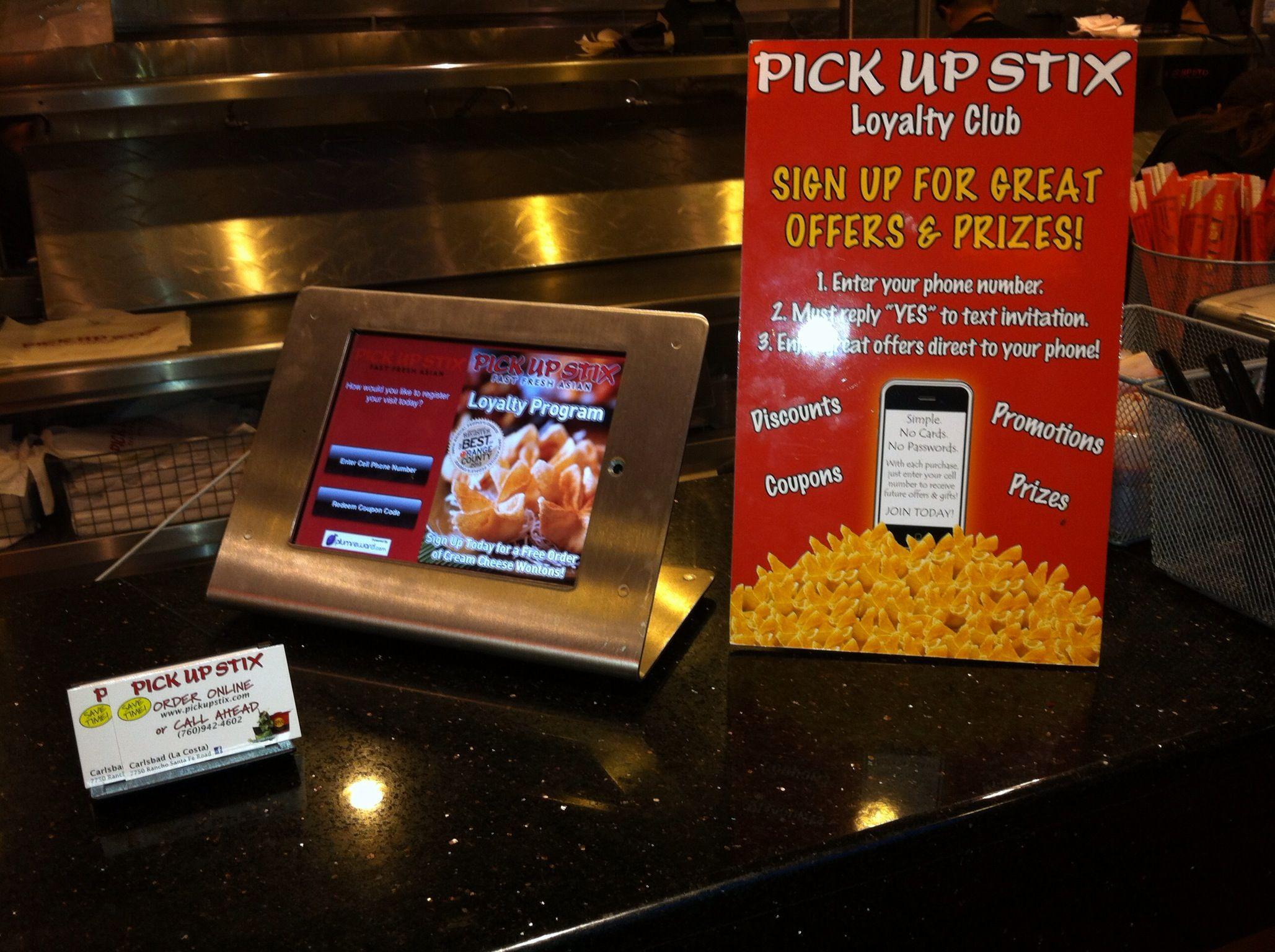 Counter card promoting loyalty program Pick Up Stix