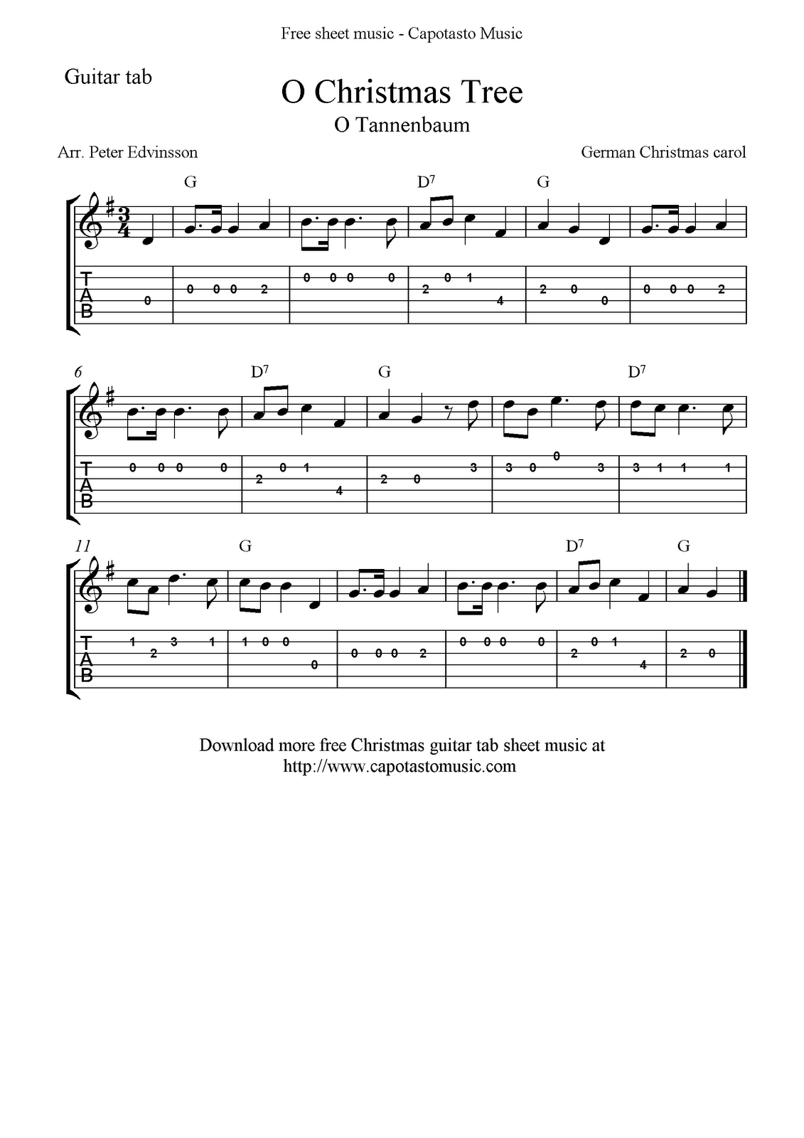 The water is wide folk song with easy guitar tabs free give your free printable sheet music o christmas tree easy free christmas guitar tablature sheet music hexwebz Images