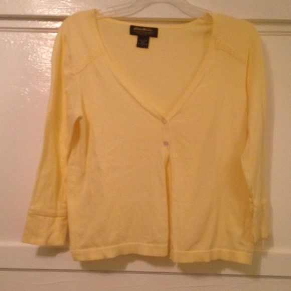 Eddie Bauer M Cardigan yellow | Yellow cardigan, Brown loafers and ...