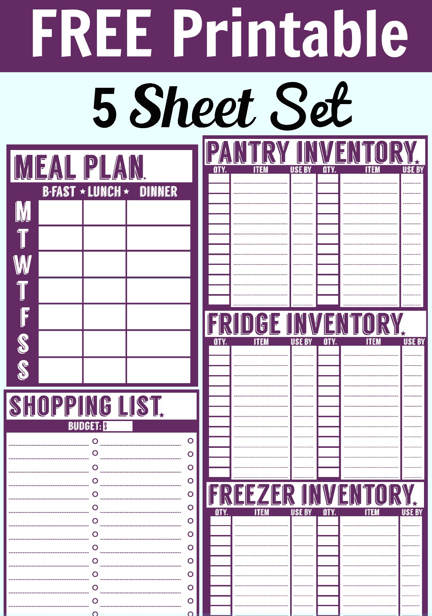 Free  Sheet Printable Set Menu Planner Shopping List Pantry