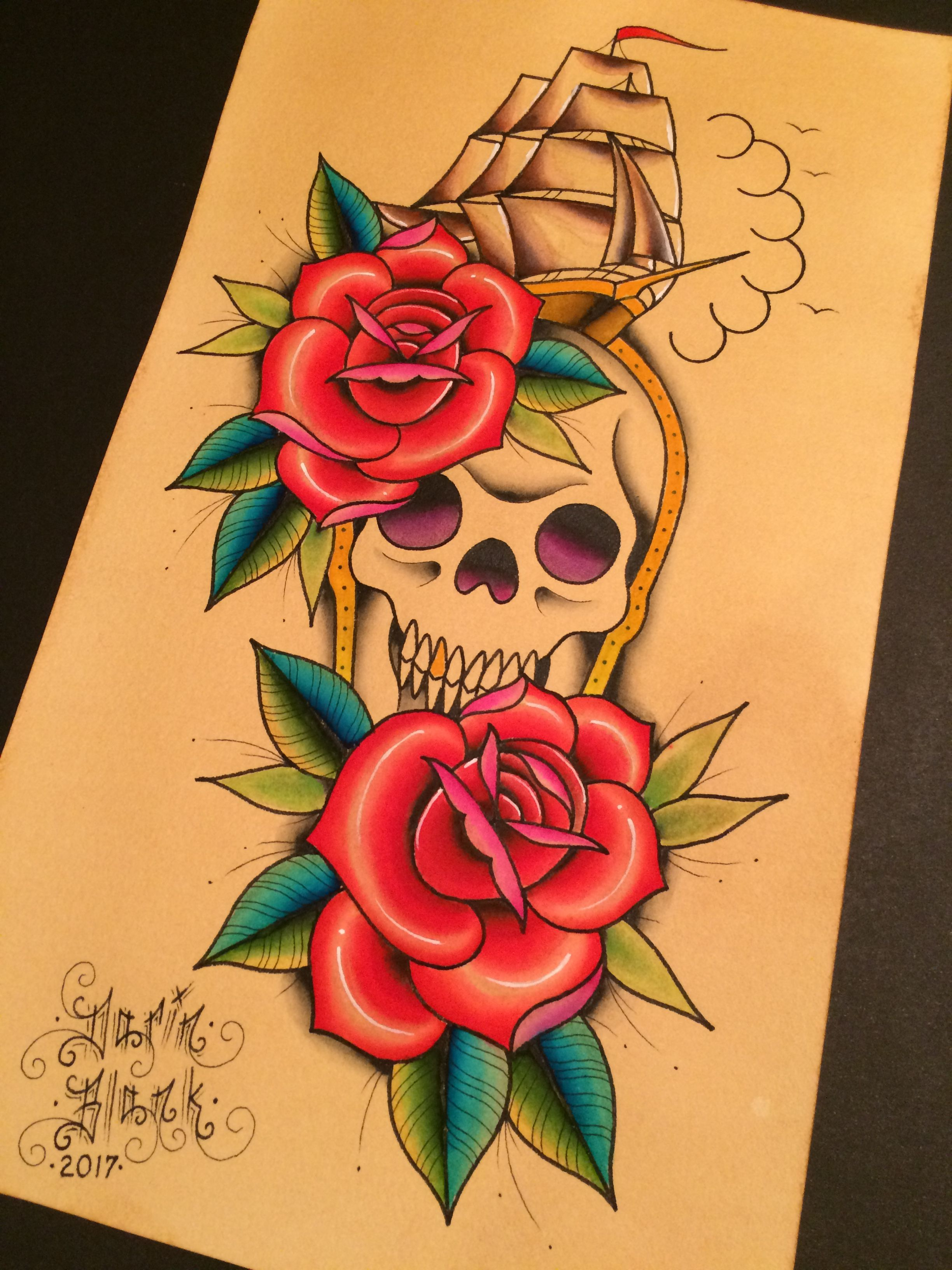 traditional tattoo flash by darin blank instagram