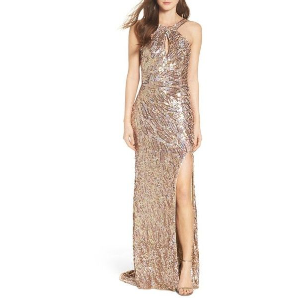 Women\'s Mac Duggal Sequin Cowl Back Gown ($398) ❤ liked on Polyvore ...