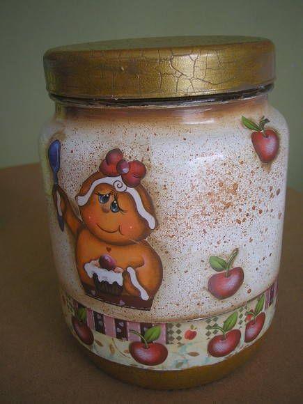 Vidro decorado labores para cocina y ba o pinterest for Envases de vidrio decorados