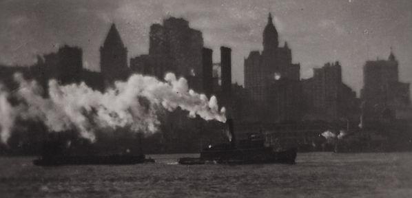 Tug and New York Skyline, 1921-1922