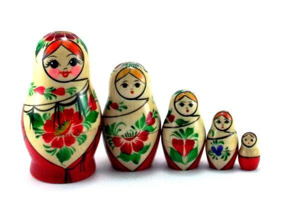 5pcs Xmas Wooden Russian Nesting Dolls Babushka Matryoshka Dolls Kids Gifts
