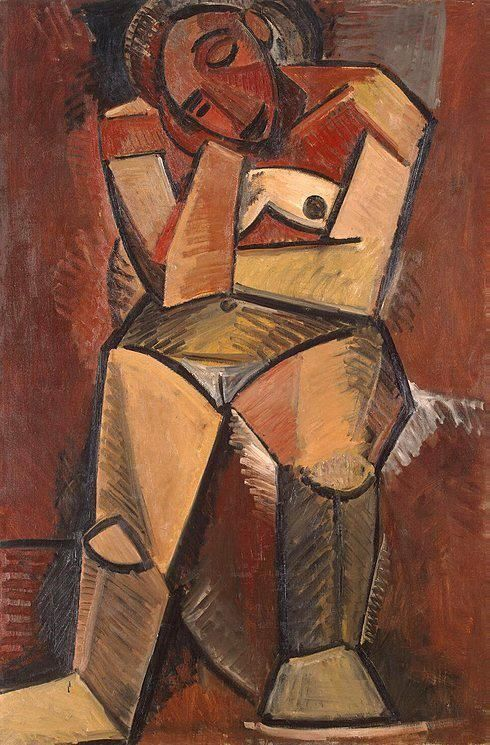 Pablo Picasso - Woman Seated, 1908. Oil on canvas, 150 x 99 cm. The State Hermitage Museum, St. Petersburg, Russia