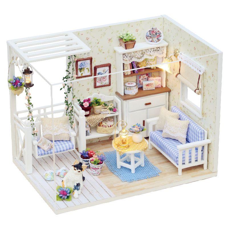 DIY Holz Spielzeug Miniatur Puppenhaus mit Led-Licht Kinder Xmas Geschenk Super