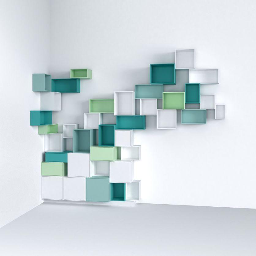 Bibliothèque modulable blanc et pastel | Idées étagères, Bibliotheque modulable, Cube rangement