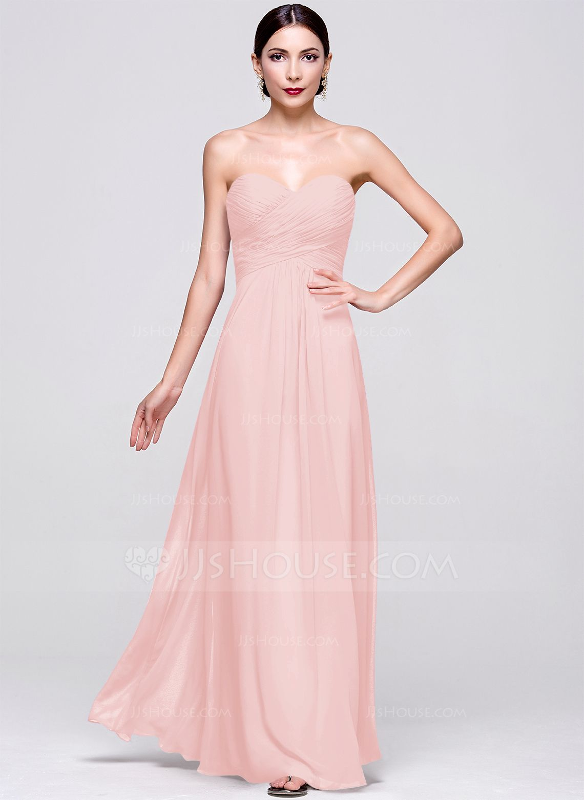 A-Line/Princess Sweetheart Floor-Length Ruffle Zipper Up Strapless ...