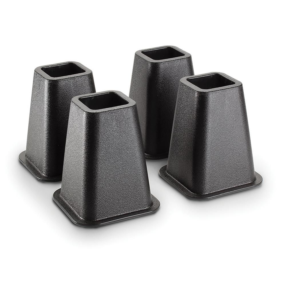 Simplify 6 in. Black Bed Risers (4Pack)2995A The Home