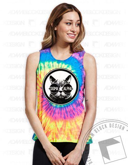 Sigma Alpha- Tie Dye Cat Tank by Adam Block Design | $20 or less each plus shipping | www.adamblockdesign.com