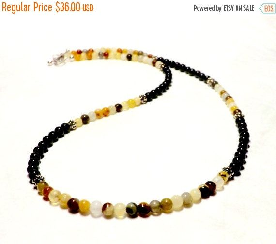 Mens Necklace Jade and Black Onyx Mens Jade Necklace Mens Onyx