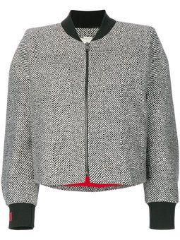 beaded tweed bomber jacket | Patterned bomber jacket