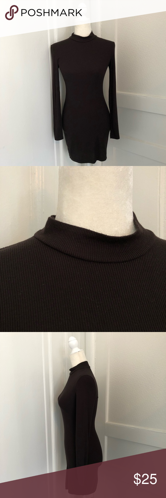 American apparel ribbed mock turtleneck dress