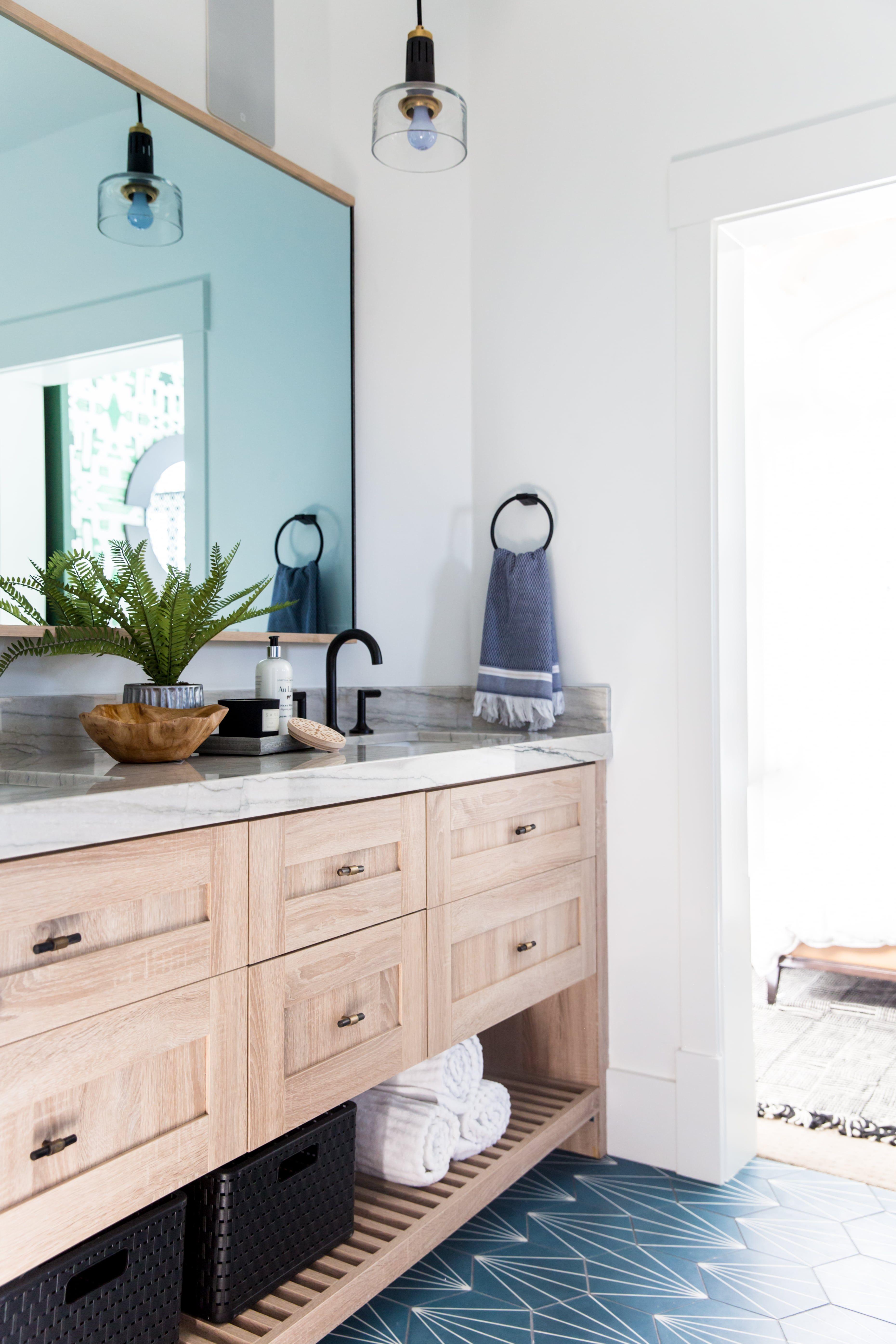 Kid S Bathroom Blue Tile Flooring Shaker Cabinetry Bathroom