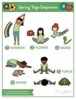 kids yoga spring sequence yoga pose poster  kids yoga